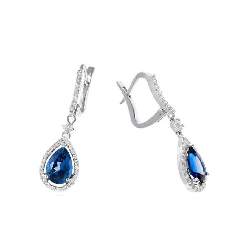 Ryan Gems 14 Karat White Gold Hampton Blue Topaz Dangle Earrings
