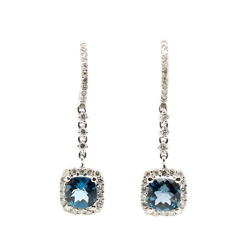 Ryan Gems 14 Karat White Gold Blue Topaz and Diamond Drop Earrings