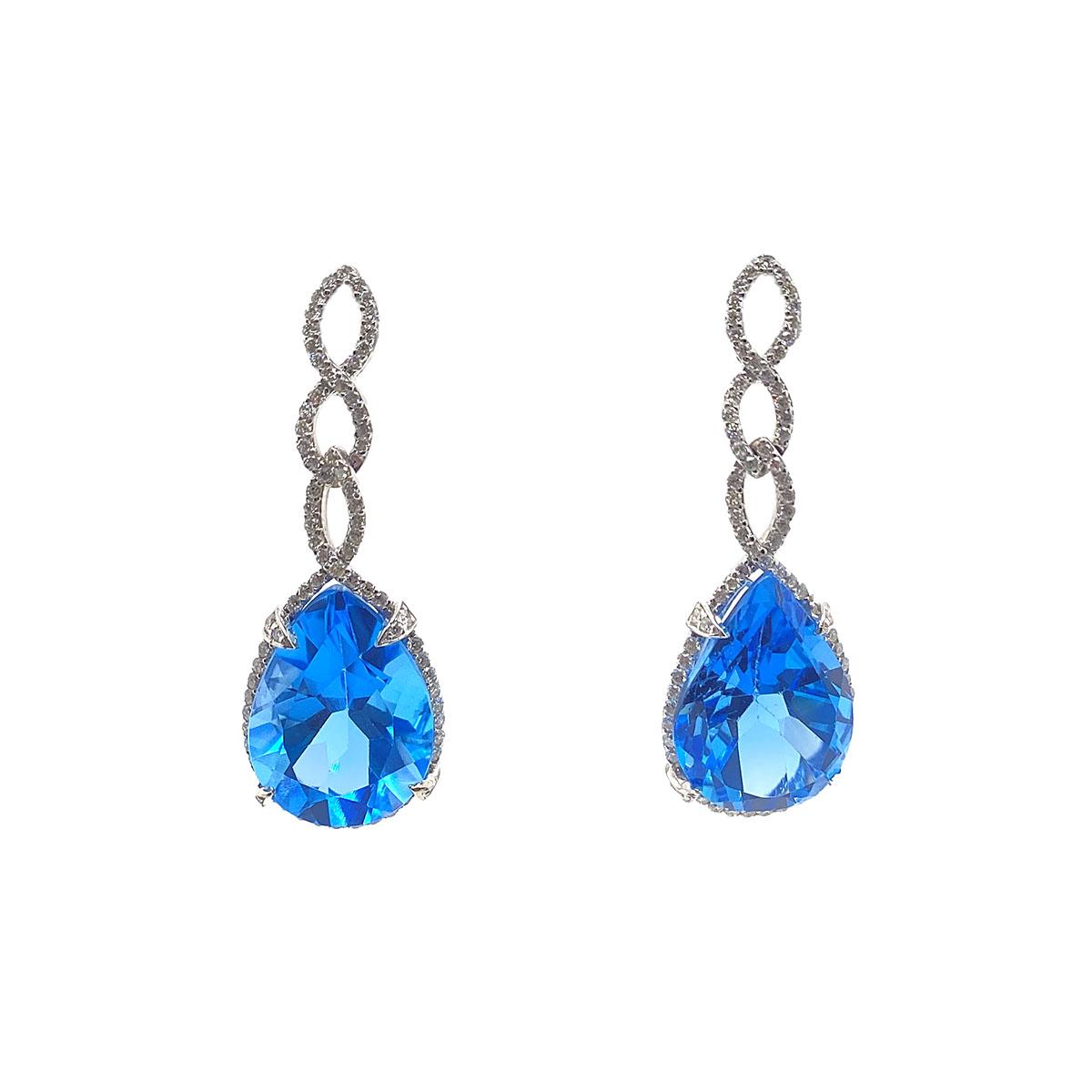 14 Karat White Gold Pear Shaped Blue Topaz and Diamond Earrings