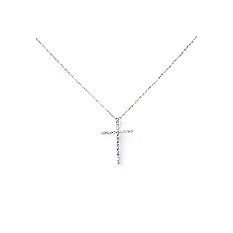 14K White Gold Diamond Cross Pendant with Chain