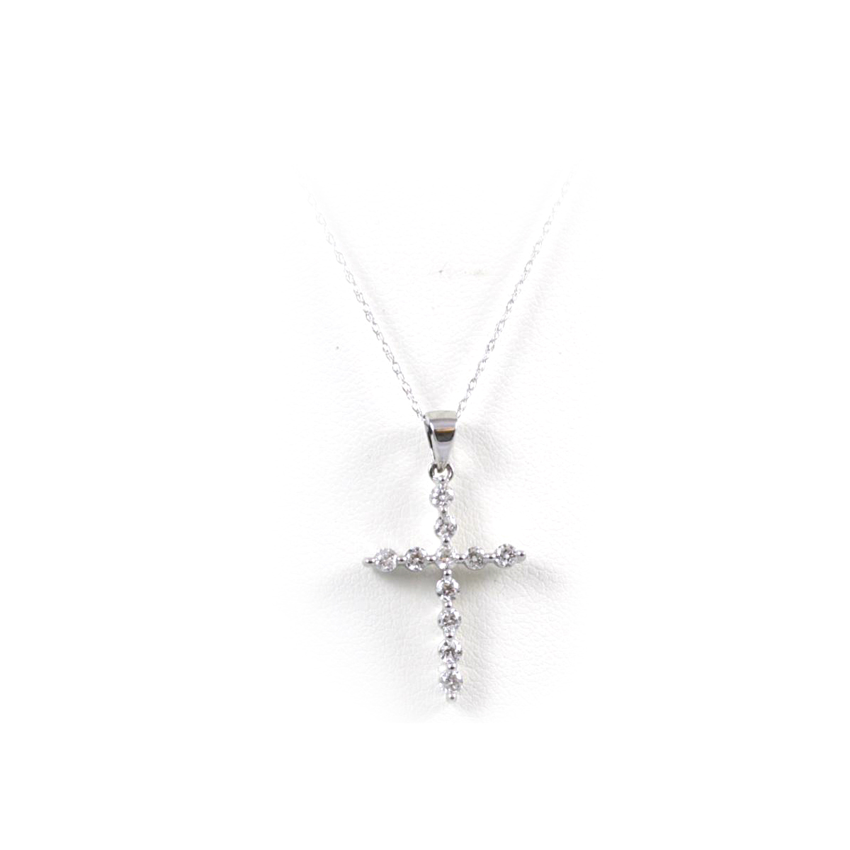 14 Karat White Gold Diamond Cross Pendant Necklace