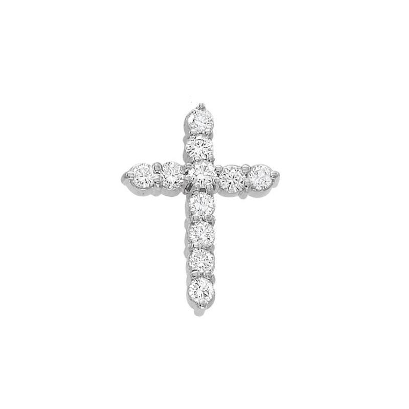 Beny Sofer 14 Karat White Gold Diamond Cross Pendant Necklace