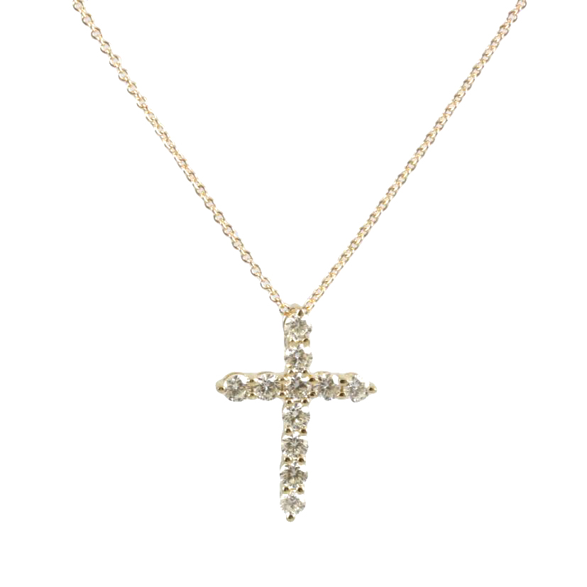 Beny Sofer 14 Karat Yellow Gold Diamond Cross Pendant Necklace