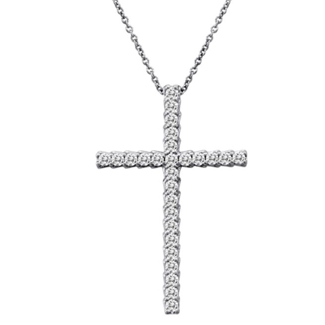 Beny Sofer 14 Karat White Gold Diamond Cross Pendant Necklace