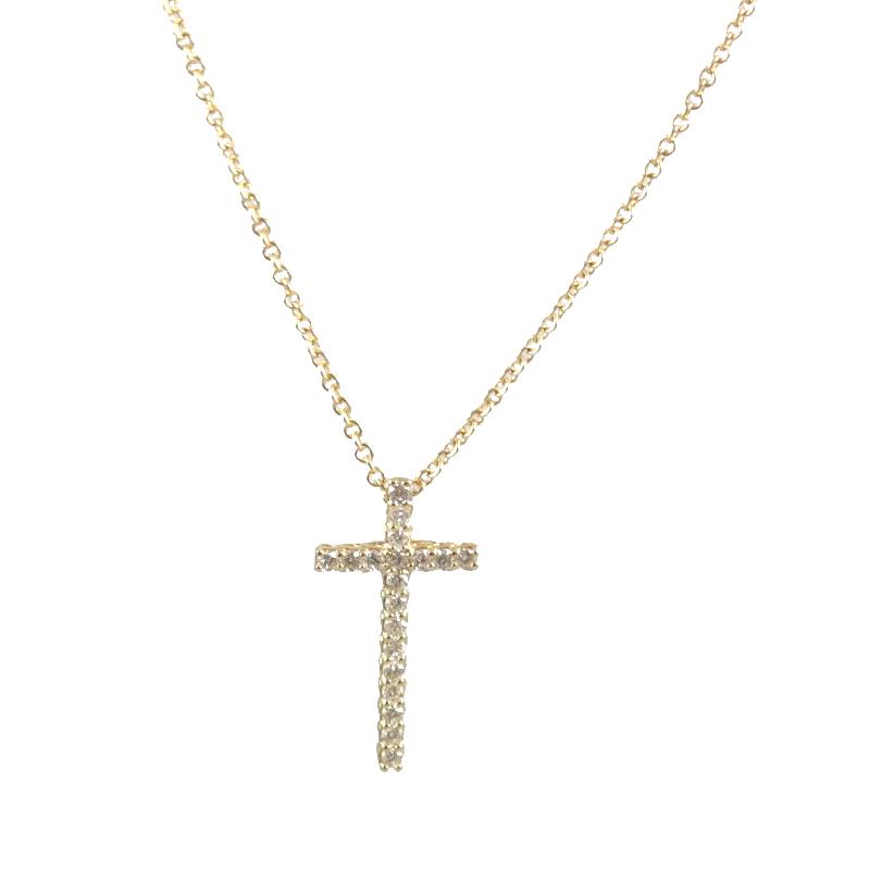 Beny Sofer 14 Karat Yellow Gold Diamond Cross Pendant Necklace