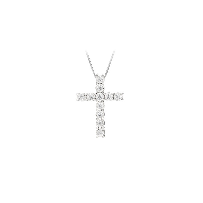 Paramount Gems 14 Karat White Gold Diamond Cross Pendant Necklace