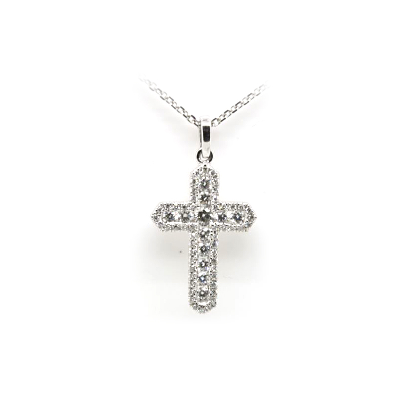 14 Karat White Gold Diamond Cross Pendant Necklace