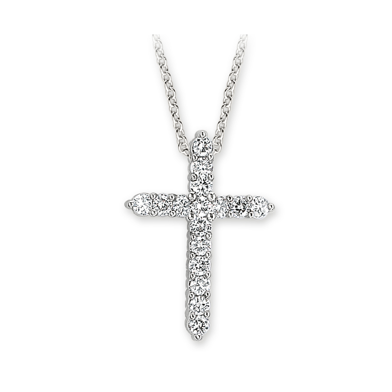Shefi Diamonds 14 Karat White Gold Small Diamond Cross Pendant with Chain (.25 Carat)