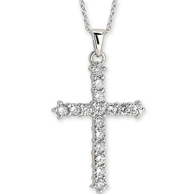 Shefi Diamonds 14 Karat White Gold Small Diamond Cross Pendant with Chain (.5 Carat)