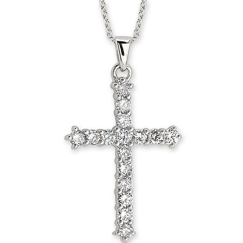 Shefi Diamonds 14 Karat White Gold Diamond Cross Pendant with Chain (.75 Carat)