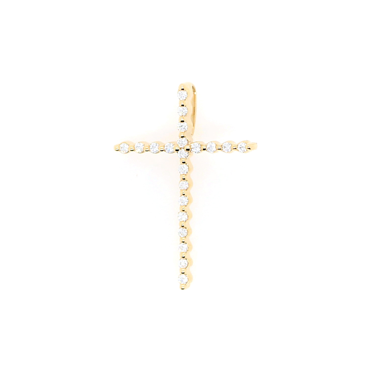 Shefi Diamonds 14 Karat Yellow Gold Diamond Cross Pendant