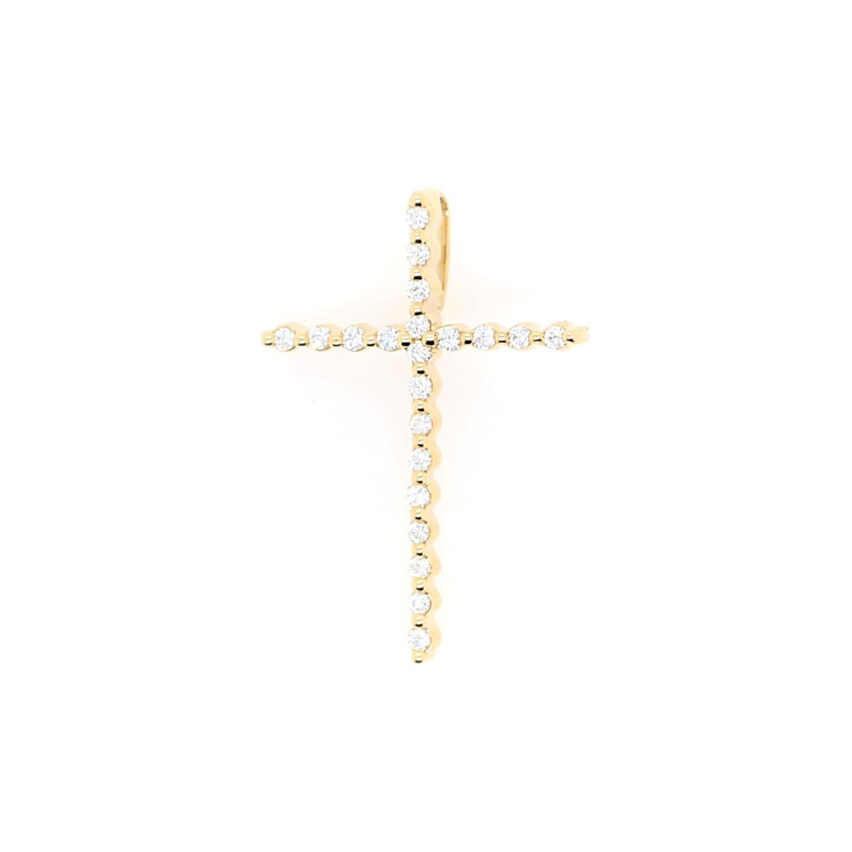 Shefi Diamonds 14 Karat Yellow Gold Diamond Cross Pendant