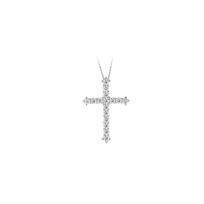 Shefi Diamonds 14 Karat White Gold Diamond Cross Pendant