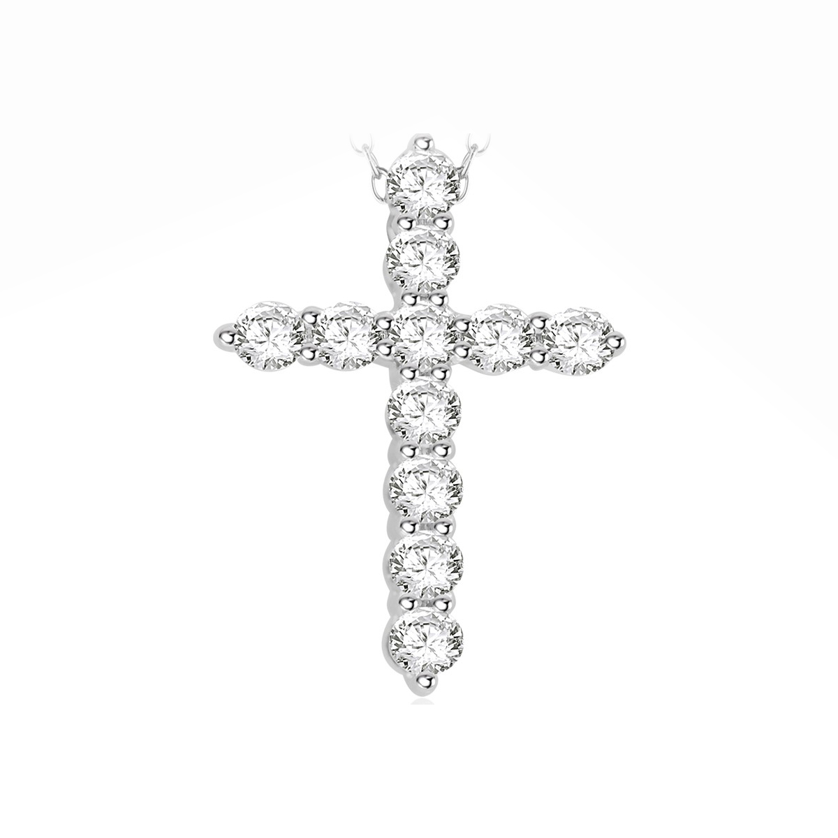 Paramount Gems 14 Karat White Gold .5 Carat Diamond Cross Necklace