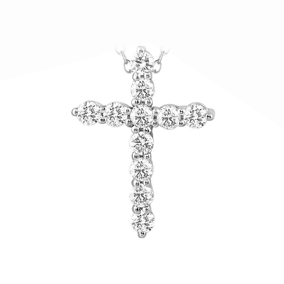 Paramount Gems 14 Karat White Gold .25 Carat Diamond Cross Necklace