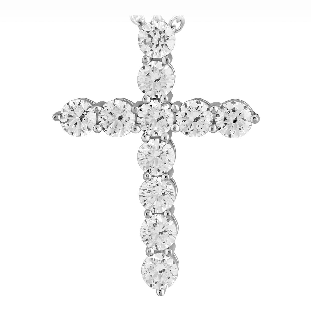 Paramount Gems 14 Karat White Gold .75 Carat Diamond Cross Necklace