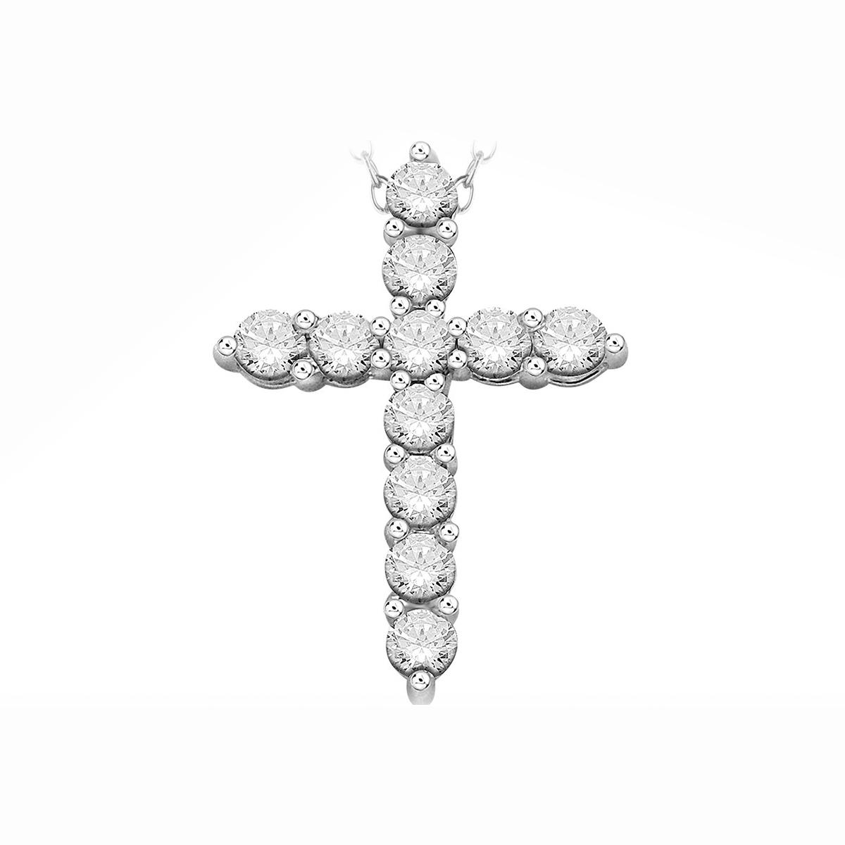 Paramount Gems 14 Karat White Gold 1 Carat Diamond Cross Necklace