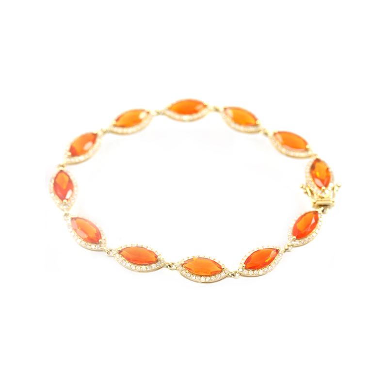 18 Karat yellow gold fire opal and diamond link bracelet