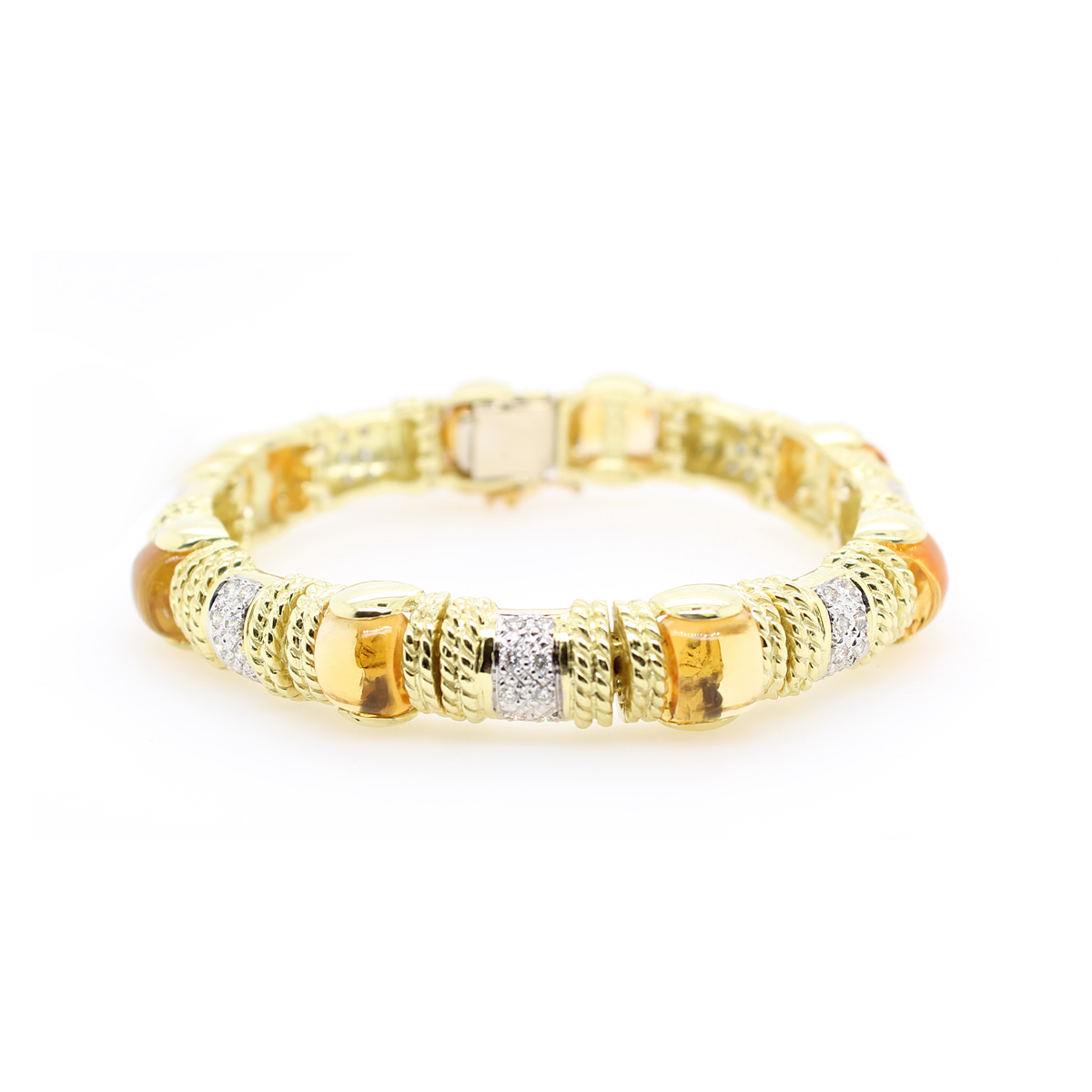 18 Karat Yellow Gold Cabochon Citrine and Diamond Bangle Bracelet