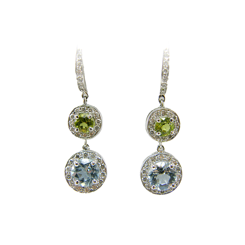 Lauren K 18 Karat White Gold Peridot, Aqua, and Diamond Double Drop Earrings
