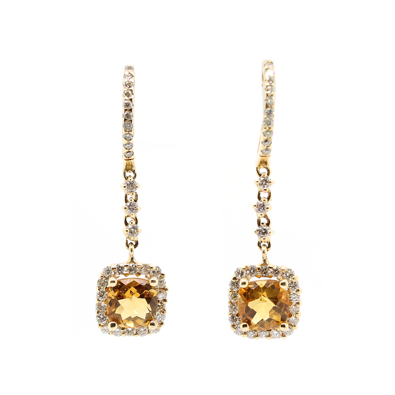 Ryan Gems 14 Karat Yellow Gold Citrine and Diamond Drop Earrings