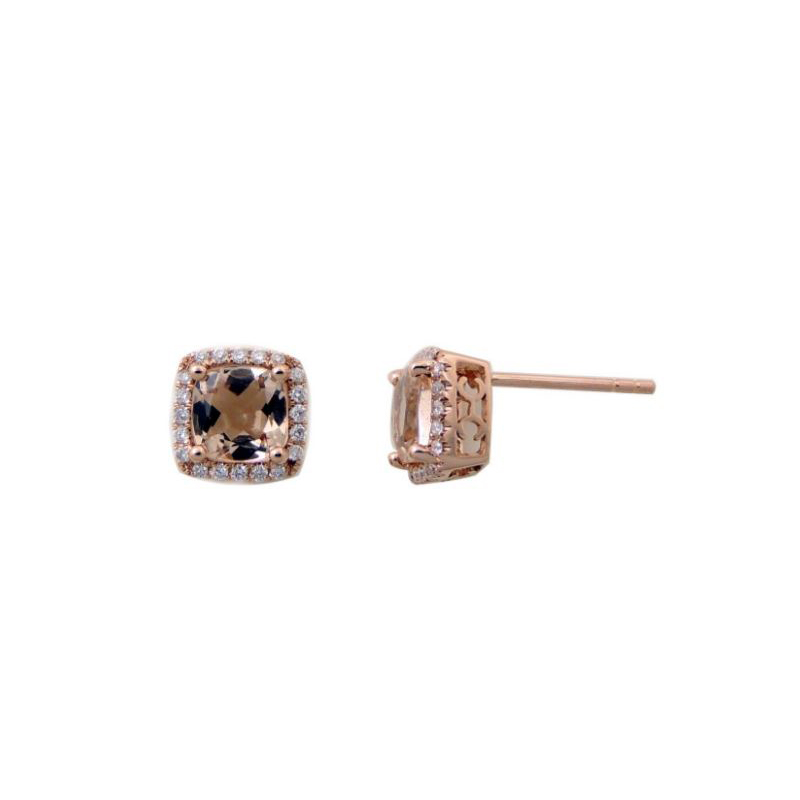 14 Karat Rose Gold Cushion Cut Morganite and Diamond Earrings