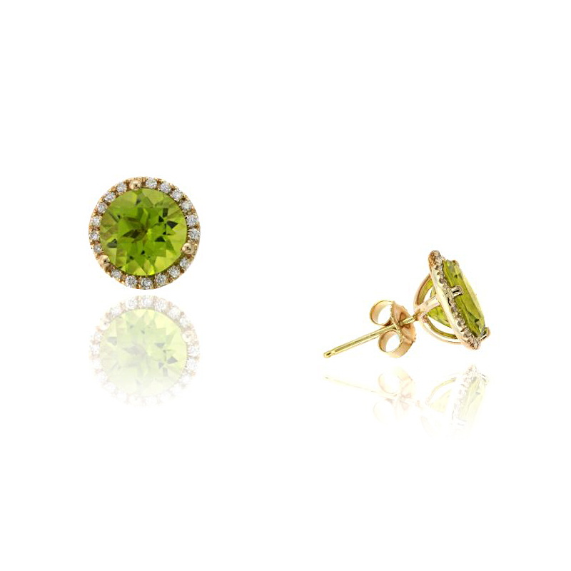 Ryan Gems 14 Karat Yellow Gold Peridot Stud Earrings
