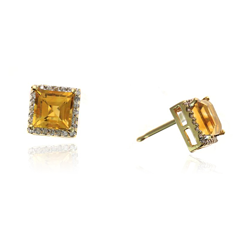 Ryan Gems 14 Karat Yellow Gold Citrine and Diamond Earrings