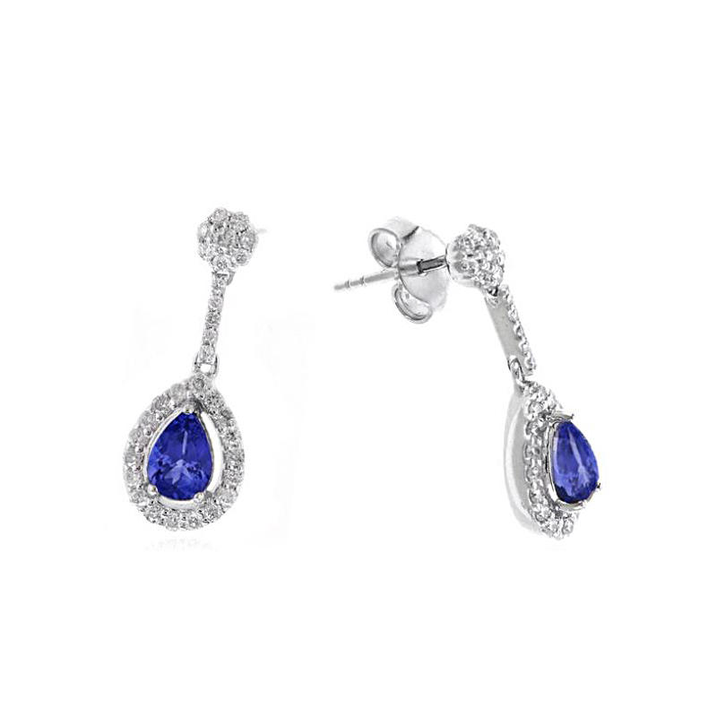 Ryan Gems 14 Karat White Gold Tanzanite and Diamond Earrings