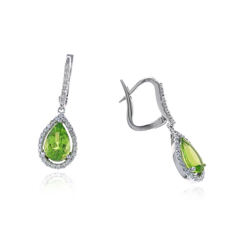 Ryan Gems 14 Karat White Gold Peridot and Diamond Earrings