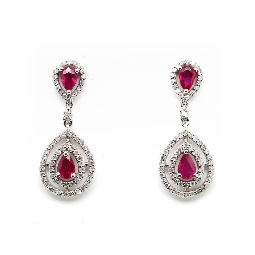 Ryan Gems 14 Karat White Gold Ruby and Diamond Drop Earrings