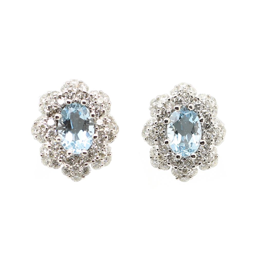 Ryan Gems 14 Karat White Gold Aquamarine and Diamond Earrings