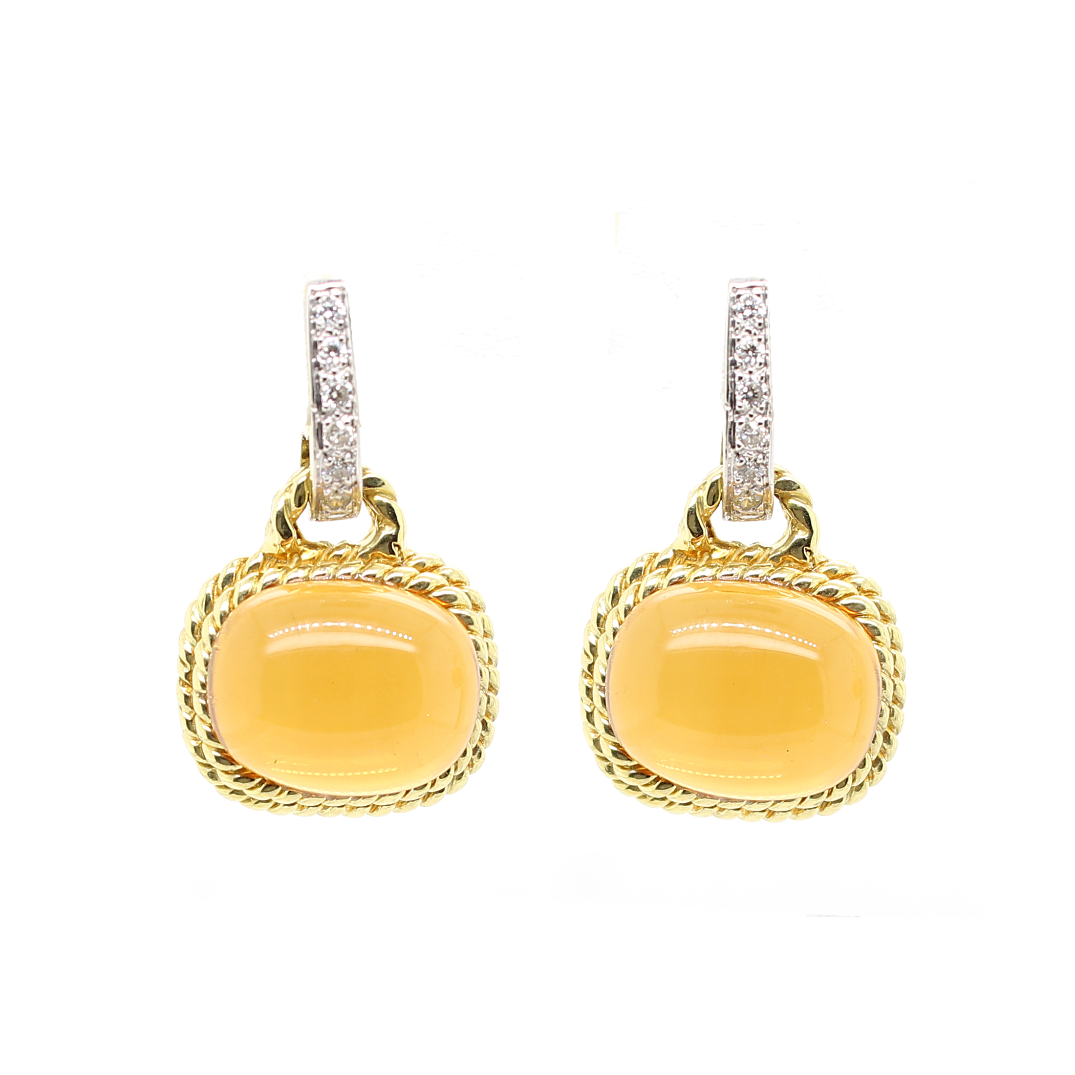 18 Karat Yellow Gold Cabochon Citrine and Diamond Earrings