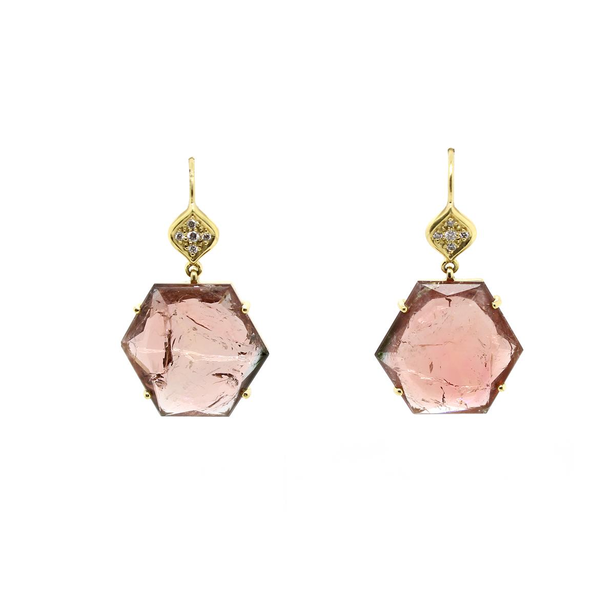 Lauren K 18 Karat Yellow Gold Tourmaline and Diamond Petra Earrings