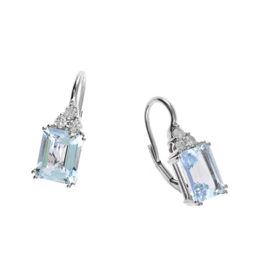 14 Karat White Gold Emerald Cut Aquamarine and Diamond Earrings