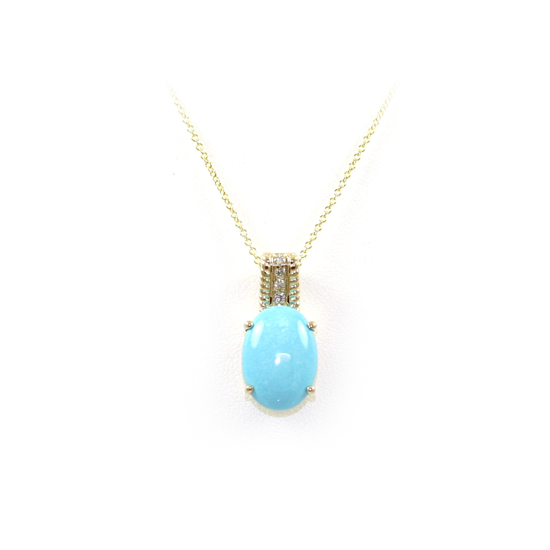 14 Karat Yellow Gold Oval Turquoise and Diamond Pendant and Chain