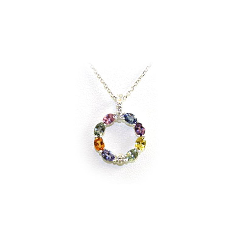 18 Karat White Gold Diamond and Multicolor Sapphire Pendant Necklace