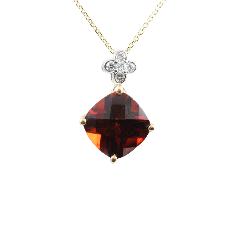 14 karat yellow gold, diamond and garnet pendant