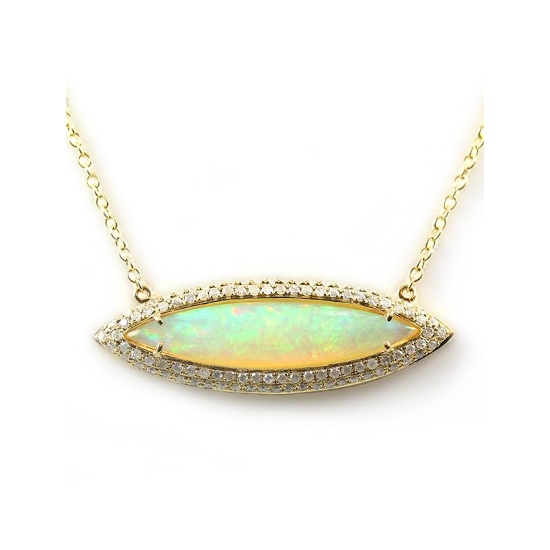 18 Karat yellow gold opal and diamond pendant