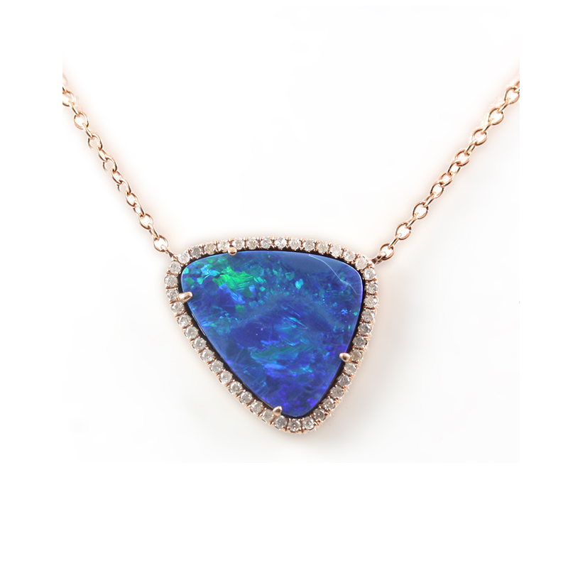 18 Karat rose gold Boulder opal and diamond pendant