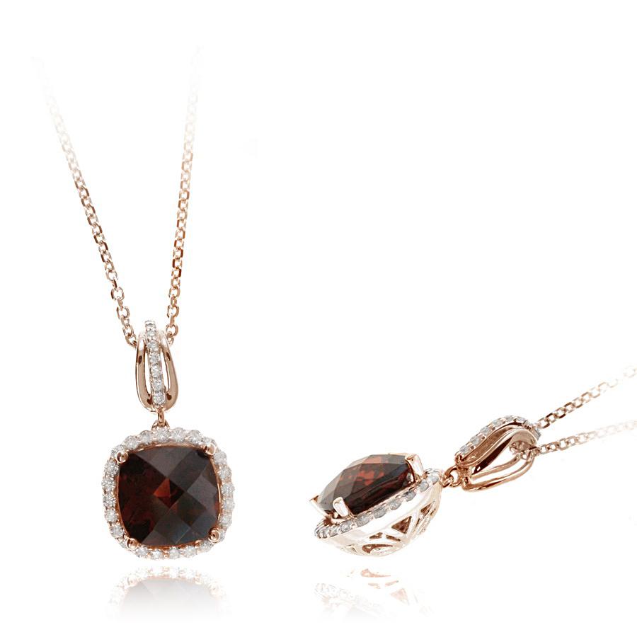 Ryan Gems 14 Karat Rose Gold Garnet and Diamond Pendant Necklace