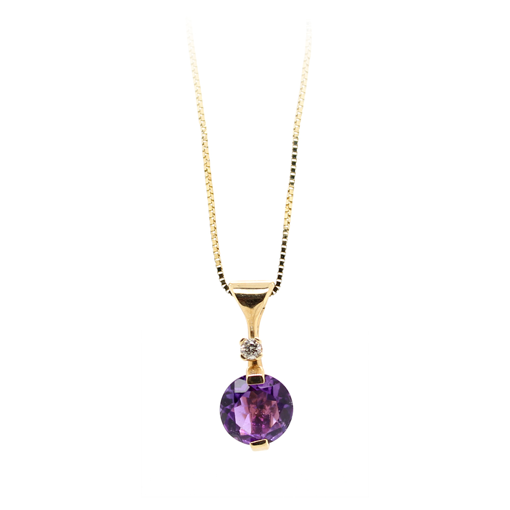 Ryan Gems 14 Karat Yellow Gold Amethyst and diamond Pendant Necklace