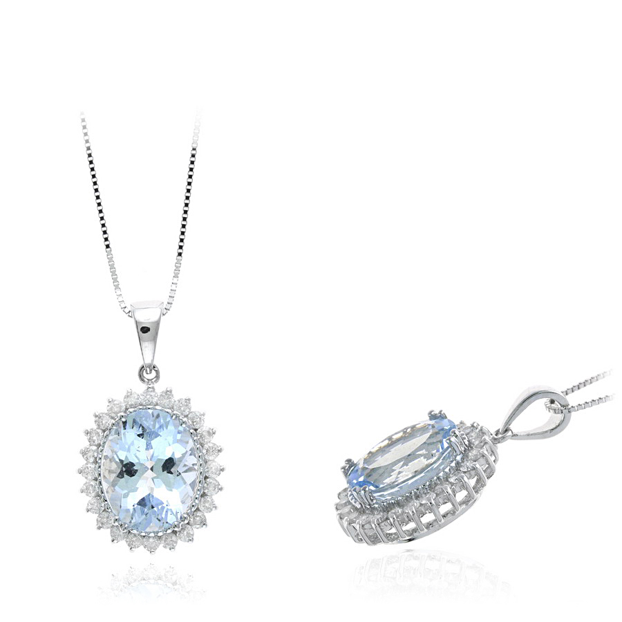 Ryan Gems 14 Karat White Gold Aquamarine and Diamond Pendant Necklace