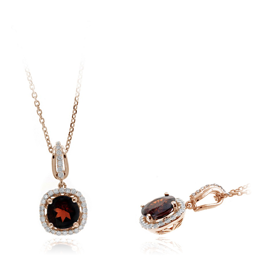 Ryan Gems 14 Karat Rose Gold Garnet and diamond Pendant Necklace
