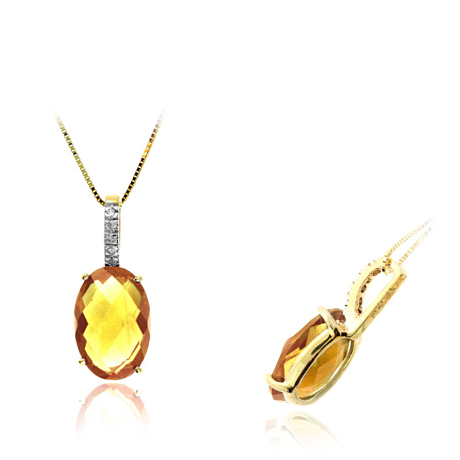 Ryan Gems 14 Karat Yellow Gold Citrine and Diamond Pendant Necklace