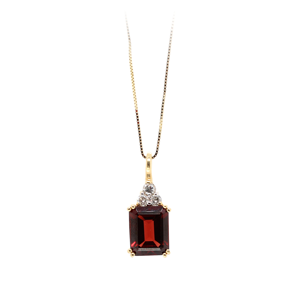 Ryan Gems 14 Karat Yellow Gold Garnet and Diamond Pendant