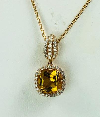 Ryan Gems 14 Karat Yellow Gold Citrine and Diamond Pendant Necklace