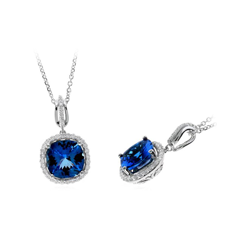 Ryan Gems 14 Karat White Gold Hampton Blue Topaz and Diamond Pendant Necklace