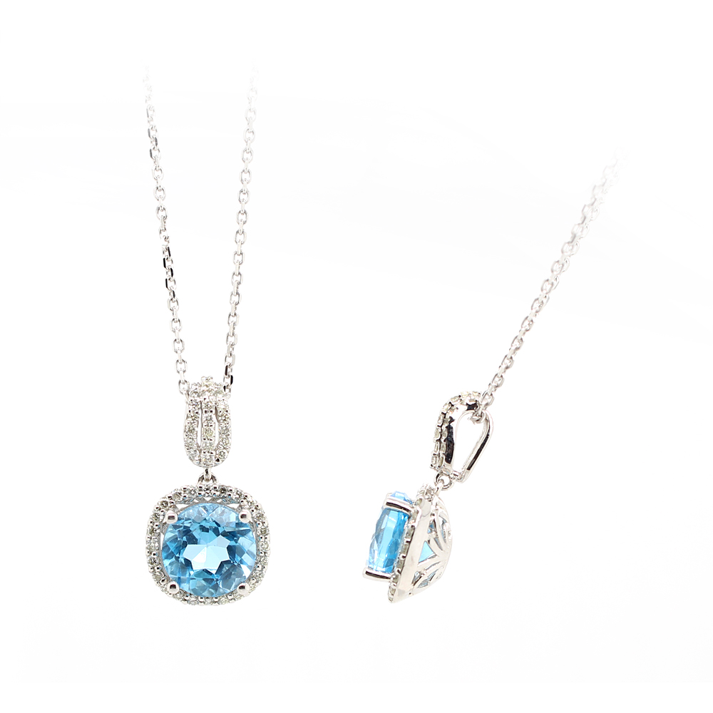 Ryan Gems 14 Karat White Gold Blue Topaz Pendant Necklace