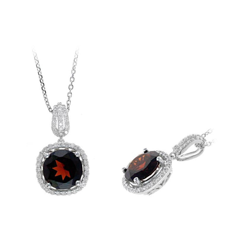 Ryan Gems 14 Karat White Gold Garnet and Diamond Pendant Necklace